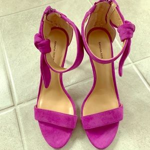 BRAND NEW suede fuchsia sandals